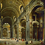 Part 2 Louvre - Giovanni Paolo Panini -- Cardinal Melchior de Polignac visiting the basilica of Saint Peter's, Rome
