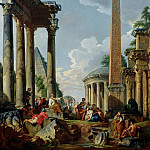 Giovanni Paolo Panini -- Architectural capriccio with preacher in Roman ruins, Part 2 Louvre