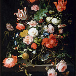 Part 2 Louvre - Abraham Mignon -- Flowers in a crystal vase placed on a stone pedestal, with a dragonfly