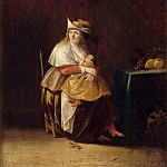 Part 2 Louvre - Anthonie Palamedesz -- Taste (woman nursing a child and monkey eating fruit)