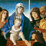 Giovanni Bellini -- Virgin and Child with Saints John the Baptist, Mary Magdalene , George, and Peter, Part 6 Louvre