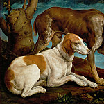 Part 6 Louvre - Jacopo Bassano il Vecchio (c.1510-1592) -- Two Hunting Dogs Tied to a Tree Stump