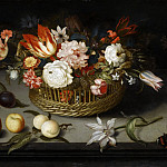Balthasar van der Ast -- Basket of Flowers, Part 6 Louvre