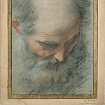 Federico Barocci -- Head of a bald and bearded old Man looking down, Part 6 Louvre