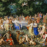 Part 6 Louvre - Hendrik van Balen I, landscape by Jan Brueghel the Elder -- Feast of the Gods (Le Festin des Dieux)