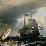 Ludolf Backhuysen I -- Dutch ships off the coast of Amsterdam , Part 6 Louvre