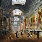 Hubert Robert, an artist who specialized in paintings of ruins, was on the committees charged with deciding how to renovate the Grande Galerie. He painted at least nine potential versions, which are hard to date accurately. Here Robert took up De Wailly?s Serlian motif and retained the niches flanked by pilasters. This arrangement, which can still be seen today, was only executed in the early 19th century by Napoleon?s architects, Percier and Fontaine . -- Proposed Renovation of the Grande Galerie-circa 1796-1798 ? Oil on canvas ? Department of Paintings, Musée du Louvre, Paris , Part 6 Louvre