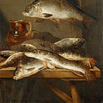 Abraham van Beveren -- Still Life with Carp, Part 6 Louvre