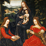 Ambrosius Benson -- Virgin and Child with Saints Catherine of Alexandria and Barbara, Part 6 Louvre