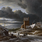 Ruisdael, Jacob Isaacksz. van -- Winterlandschap, 1650-1682, Rijksmuseum: part 1