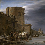 Stadswal van Haarlem in de winter., 1647, Nicolaes (Claes Pietersz.) Berchem