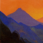 Roerich N.K. (Part 5) - Himalayas # 6 Purple mountains against the backdrop of the setting sun.
