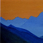Roerich N.K. (Part 5) - Evening # 98 Evening (Blue Mountain on orange background sky)