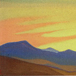 Boris Grigoriev - Desert # 12 Desert (Purple mountain and golden sky)