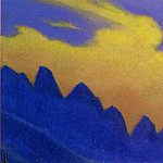 Roerich N.K. (Part 5) - Cloud # 94 (silhouette blue mountains against Staphylococcus clouds)