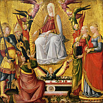 Neri di Bicci, Italian , 1419-1492 -- Saint Thomas Receiving the Virgin's Girdle, with the Archangel Michael, Saints Augustine, Margaret, and Catherine of Alexandria, and Angels, Philadelphia Museum of Art