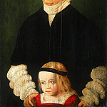 Barthel Beham, German , c. 1502-1540 -- Portrait of Margaret Urmiller and Her Daughter, Philadelphia Museum of Art