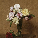 Ignace-Henri-Jean-Théodore Fantin-Latour, French, 1836-1904 -- Still Life with Roses in a Fluted Vase, Philadelphia Museum of Art