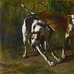 Constant Troyon, French, 1810-1865 -- Leashed Hounds, Philadelphia Museum of Art