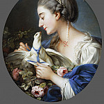 Philadelphia Museum of Art - Attributed to Johann Christian von Mannlich, German (active Paris), 1741-1822 -- Young Woman Fastening a Letter to the Neck of a Pigeon