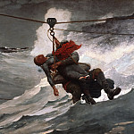 Winslow Homer, American, 1836-1910 -- The Life Line, Philadelphia Museum of Art