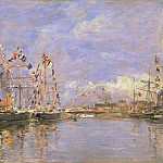 Philadelphia Museum of Art - Eugène-Louis Boudin, French, 1824-1898 -- Deauville, Flag-Decked Ships in the Inner Harbor