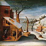 Abel Grimmer, Flemish , active 1592-1619 -- Winter Landscape with the Angel Appearing to Saint Joseph, the Massacre of the Innocents, and the Flight into Egypt, Philadelphia Museum of Art