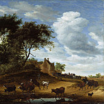 Salomon van Ruysdael, Dutch , 1600/03?-1670 -- Landscape with Cattle and an Inn, Philadelphia Museum of Art