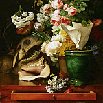 Antoine Berjon, French, 1754-1843 -- Still Life with Flowers, Shells and Shark's Head, Philadelphia Museum of Art