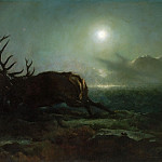 Philadelphia Museum of Art - Sir Edwin Landseer, English, 1802-1873 -- Night (Two Stags Battling by Moonlight)