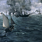 "Philadelphia Museum of Art - Édouard Manet, French, 1832-1883 -- The Battle of the ""Kearsarge"" and the ""Alabama"""