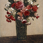Ignace-Henri-Jean-Théodore Fantin-Latour, French, 1836-1904 -- Still Life with Roses and Asters in a Glass, Philadelphia Museum of Art