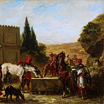 Ferdinand-Victor-Eugène Delacroix, French, 1798-1863 -- Horses at a Fountain, Philadelphia Museum of Art