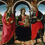 David Ghirlandaio , Italian , 1452-1525 -- Virgin and Child, with Saints Apollonia and Sebastian, Philadelphia Museum of Art