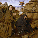 Attributed to Jan van Eyck, Netherlandish , first documented 1422, died 1441 -- Saint Francis of Assisi Receiving the Stigmata, Philadelphia Museum of Art
