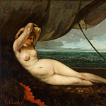 Gustave Courbet, French, 1819-1877 -- Nude Reclining by the Sea, Philadelphia Museum of Art
