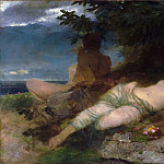 Arnold Böcklin, Swiss, 1827-1901 -- Nymph and Satyr, Philadelphia Museum of Art