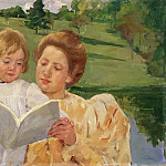 Mary Stevenson Cassatt, American, 1844-1926 -- Family Group Reading, Philadelphia Museum of Art