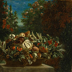 Ferdinand-Victor-Eugène Delacroix, French, 1798-1863 -- Still Life with Flowers and Fruit, Philadelphia Museum of Art