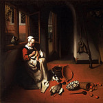 Nicolaes Maes, Dutch , 1634-1693 -- Woman Plucking a Duck, Philadelphia Museum of Art