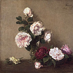 Ignace-Henri-Jean-Théodore Fantin-Latour, French, 1836-1904 -- Still Life with Roses of Dijon, Philadelphia Museum of Art