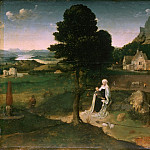 Workshop of Joachim Patinir, Netherlandish , c. 1485-1524 -- Rest on the Flight into Egypt, Philadelphia Museum of Art