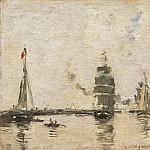 Boats in Trouville Harbor, Eugene Boudin