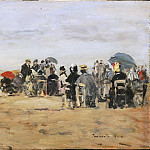 Eugène-Louis Boudin, French, 1824-1898 -- Beach at Trouville, Philadelphia Museum of Art