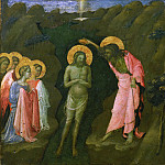 Giovanni Toscani , Italian , born 1370-80, died 1430 -- The Baptism of Christ and the Martyrdom of Saint James the Great, Philadelphia Museum of Art