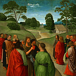 Master of the Saint John Altarpiece , Netherlandish , first securely documented 1478, still active 1534 -- Saint John the Baptist Pointing Out Christ as the Lamb of God, Philadelphia Museum of Art