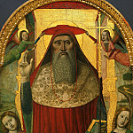 Philadelphia Museum of Art - Nicolò Corso (Nicolò di Lombarduccio da Pieve di Vico), Italian (active Liguria), documented 1469-1503 -- Enthroned Saint Jerome, with Angels
