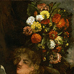 Gustave Courbet, French, 1819-1877 -- Head of a Woman and Flowers, Philadelphia Museum of Art