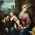 Moretto da Brescia , Italian , c. 1498-1554 -- Virgin and Child, with Two Donors, Philadelphia Museum of Art