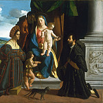 Dosso Dossi , Italian , first recorded 1512, died 1542 -- The Holy Family, with the Young Saint John the Baptist, a Cat, and Two Donors, Philadelphia Museum of Art